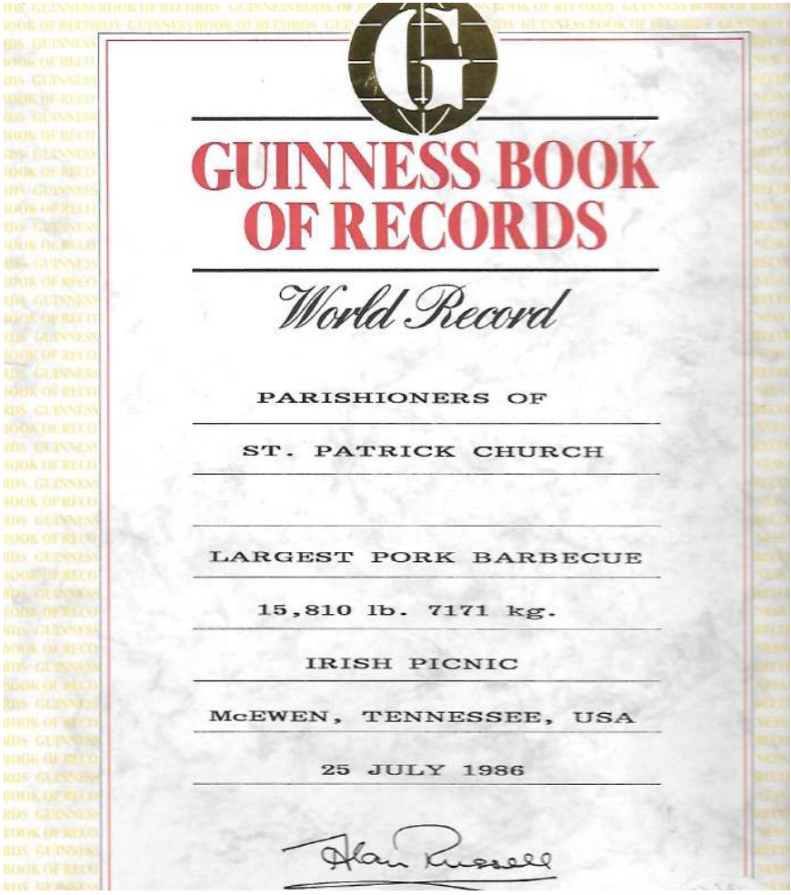 Guinness Book of World Records Irish Picnic Largest Pork Barbecue July 1986